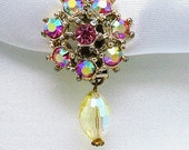 Vintage Dress Clip Sweater Guard Aurora Borealis Rhinestone With A Faceted Dangle Bead, PAT. PEND.