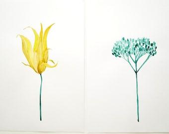 Set of 2 original watercolror flower paintings. Paper.  Original Artwork.  Modern house art. Modern house decor.
