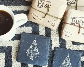 Christmas Tree Slate Coasters (Set of 4) Wedding, Christmas, Winter