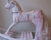 Large wooden rocking horse pink painted shabby cottage chic distressed embellished rhinestones w/ tattered lace tail anita spero design