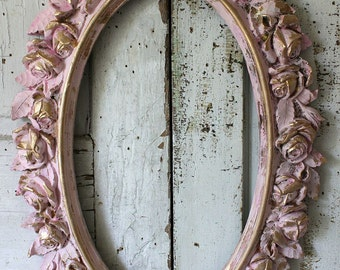 Rose picture frame wall hanging large distressed oval painted pink w/ gold shabby cottage chic ornate home nursery decor anita spero design