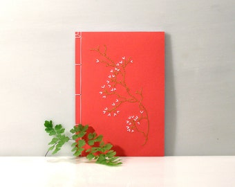 Sakura. Embroidered Notebook. Japanese Journal. Cherry Flower Notebook. Japanese Stab Bound. Floral Spring Journal. A5 Japanese Notebook