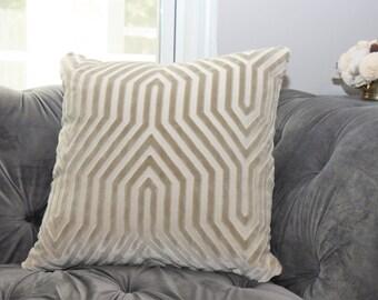 Designer Geometric Pillow - Mary McDonald Greige Velvet Pillow Cover - Vanderbilt Velvet Throw Pillow - Schumacher - Designer Pillow