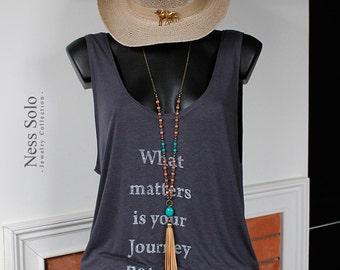 Leather tassel necklace Bohemian jewelry boho beaded necklace Turquoise pendant necklace boho chic Hippie jewelry by Ness Solo