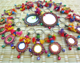 Chaya Mirror Keyring Handcrafted Mirror Beaded Keychain Beaded Zipper Pull BOHO Decor Home Accessories Rajasthan Camel Mirror Decoration