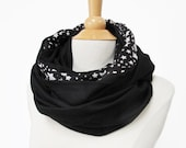 large infinity scarf black snood with stars loop circle shawl Jersey handmade fabric big