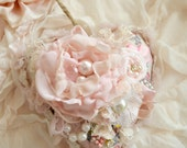 Beautiful Pink Pillow Heart Ornament Embellished by Jennelise Rose