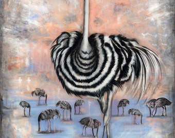 Ostrich, Signed Art Print, Home Decor