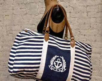 80s Nautical Canvas Weekend Overnight  Bag