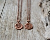 Tiny om necklace - lotus necklace - yoga jewelry - copper ohm necklace - lotus jewelry