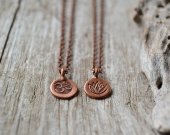 Tiny om necklace, lotus yoga necklace, yoga jewelry, copper ohm necklace, lotus jewelry, gift for her