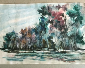 Vintage watercolour landscape, Blue Red Turquoise trees, Impressionist style trees, Small painting, Signed vintage picture