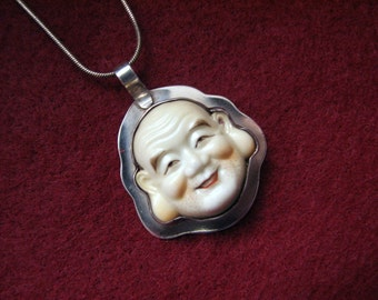 """40's Vintage HOTEI/Laughing Buddha Porcelain Pendant in Modern Sterling Silver Setting  -- Signed H. Guy, 10.3g, with 18"""" Sterling Chain"""