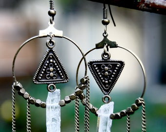 Geometric Tribal Quartz Dangle Earrings- bronze hoop earrings with quartz crystals and triangle findings
