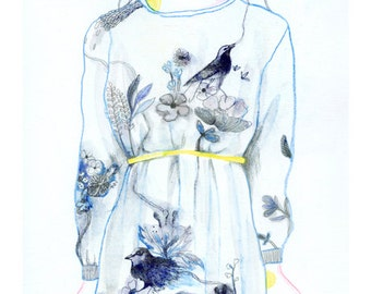 "A5 A4 Art print ""Ta robe"" (Série Songs) (limited edition)"