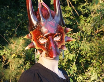 Red, Orange and Yellow Fire Dragon Mask Perfect for Halloween, LARP costume, Theater Prop, Garb, Accessory, Animal Mask, Fantasy Mask