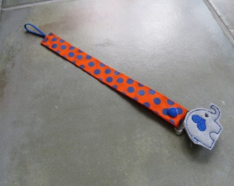 Pacifier Leash Paci Clip - Orange with Blue Dots Ribbon