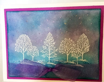 Winter Birthday - Stampin Up handmade cards - Sympathy -  White Trees - embossed - Winter in Wonderland - inspirational cards - hand made
