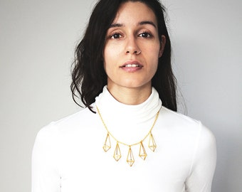 Himmeli statement prism necklace, icicle necklace, crystal necklace. Gold or silver tone.