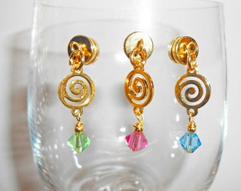 Celtic Spiral Crystal Wine Glass Charms, Magnetic Wine Charms, Celtiic Wine Glass, Stemless Wine Charms, Glass Stemware Charms, WC507G