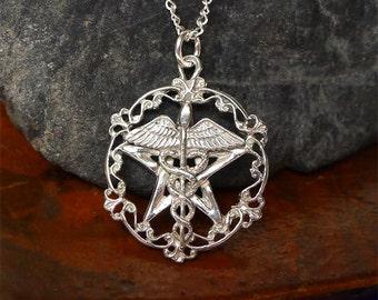 Sterling Silver Caduceus Pentacle Pendant, Healers Pentagram Necklace, Victorian Pagan Pendant, Medical Jewelry SE-1739