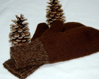 """Mittens """"Mount Garibaldi"""" for men - hand knit in pure qiviut (inner layer) and royal alpaca (outer layer)"""