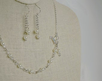 Butterfly and Pearl Necklace Earring Set and Bracelet - Bride, Bridesmaid Jewelry - Wedding - Bridal