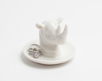 Rhinoceros Ring Dish - White Faux Taxidermy Jewelry Holder - White Faux Rhino - Ceramic Jewelry Tray in White - Jewelry Organizer Stand