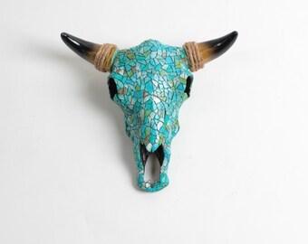 Mosaic Skull by White Faux Taxidermy - Faux Mosaic Resin Buffalo / Bison Skull Head Animal Skull - Trendy Cow Skull - Longhorn Skull