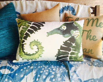 Green Seahorse Pillow, Nautical Lumbar Pillow, Watercolor, TheWatsonShop