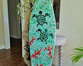 Sea Turtle Mosaic Surfboard Art, Stained glass on wood, Original Art, Beach House, Coastal Decor, Sea Turtle and Coral Design