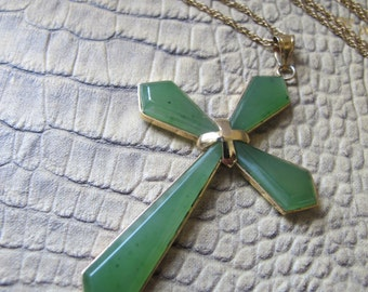 14kt Gold Wash over Fine Sterling Silver Genuine Gemstone JADE Cross Pendant Necklace.GOLD Gilt Vermeil on Asian Silver.Chinese Export Style