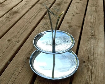 Vintage Kromex Two Tier Tidbit Serving Tray Stand Mid Century Modern