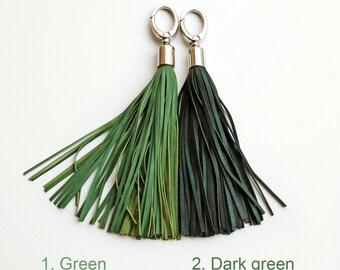 Leather Tassel keychain, Green or Dark green long tassel