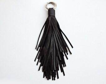 Leather tassel bag charm, Black, large tassel keychain