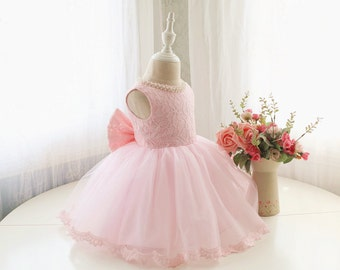 Designed Style Baby Pink Flower Girl Dress, Toddler Sleeveless Pageant Dress, Baby Birthday Dress for Girls, Baby Tutu 1st Birthday, PD098-1