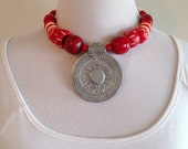 Vintage Tribal Chunky Boho Gypset Red Bead Necklace
