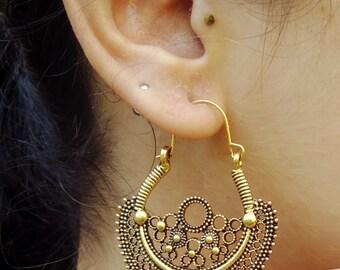 Bohemian Earrings- Tribal earrings- Hoop earrings- Tribal Gypsy Earrings- Boho earrings- Jewelry- Bohemian jewelry