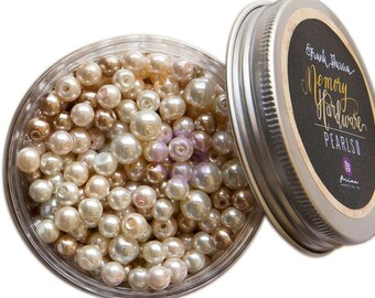 GLASS PEARL BEADS, Glass Pearls, Pearl Beads, Vintage Craft Pearls, Frank Garcia Hardware, Mixed Media Supplies, Vintage Embellishments