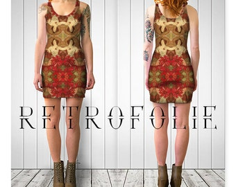 Ruby Fitted Dress, Alfons Mucha, bodycon dress, tight fitted by retrofolie
