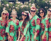 Floral Bridesmaids Robe set of 6, bridesmaid gift, Wedding favours Maid of honour and Bridesmaids, bridemaids Gift, , Bridal Party favours