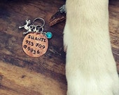 Copper Vintaj Hand Stamped Pet Dog Tag with Custom Charm Choices