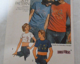 6309 Simplicity Medium 38-40 Men How To Sew Pattern Men's or Misses' T-Shirt in Two Lengths 1974 Uncut Vintage