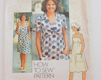 "7292 Simplicity Size 11/12 Bust 32"" Yng Jr/Teen Pattern How To Sew Pattern Dress Unlined Jacket Scarf Vintage  1975 Uncut"