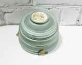 Vintage Brushed Aluminum Music Box/Powder Box. Circa 1930's - 1940's. Georgian Courting Couple. Romantic Decor. Teal. Charming Gift.