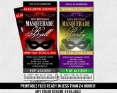 MASQUERADE TICKET INVITATIONS -  Birthday Party or Ball - Any Age/Any Color (print your own) Printable Files - Quinceanera, Sweet 16, Dance