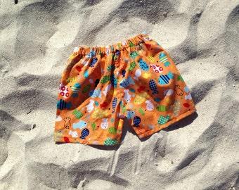Boys Beach shorts sz 12m, 18m, 24m/2t, 3, 4, 5, 6, 7, 8, fish, cruise, beach, orange blue