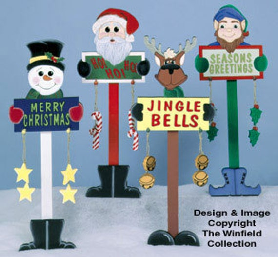 Christmas Carolers Wood Outdoor Yard Art By Chartinisyardart: Christmas Santa Reindeer Sign Snowman Elf Wood By