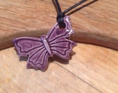 Purple Plum Essential Oil Necklace Butterfly Diffuser Pendant Aromatherapy Jewellery  Handmade in UK