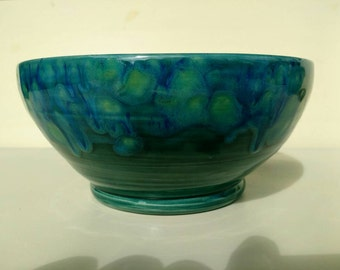 Ceramic Fruit Bowl - Teal with Crystals - Pottery Salad Bowl Made in UK Perfect Wedding Gift idea